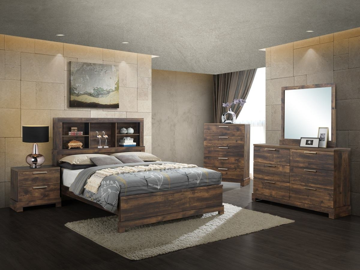 Bedroom Set California King Awesome New Classic Furniture Campbell 5pc Bookcase Bedroom Set In Ranchero