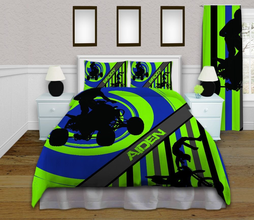 Bedroom Set for Boy Beautiful Boys Green and Blue Dirt Bike Sports Bedding Set with