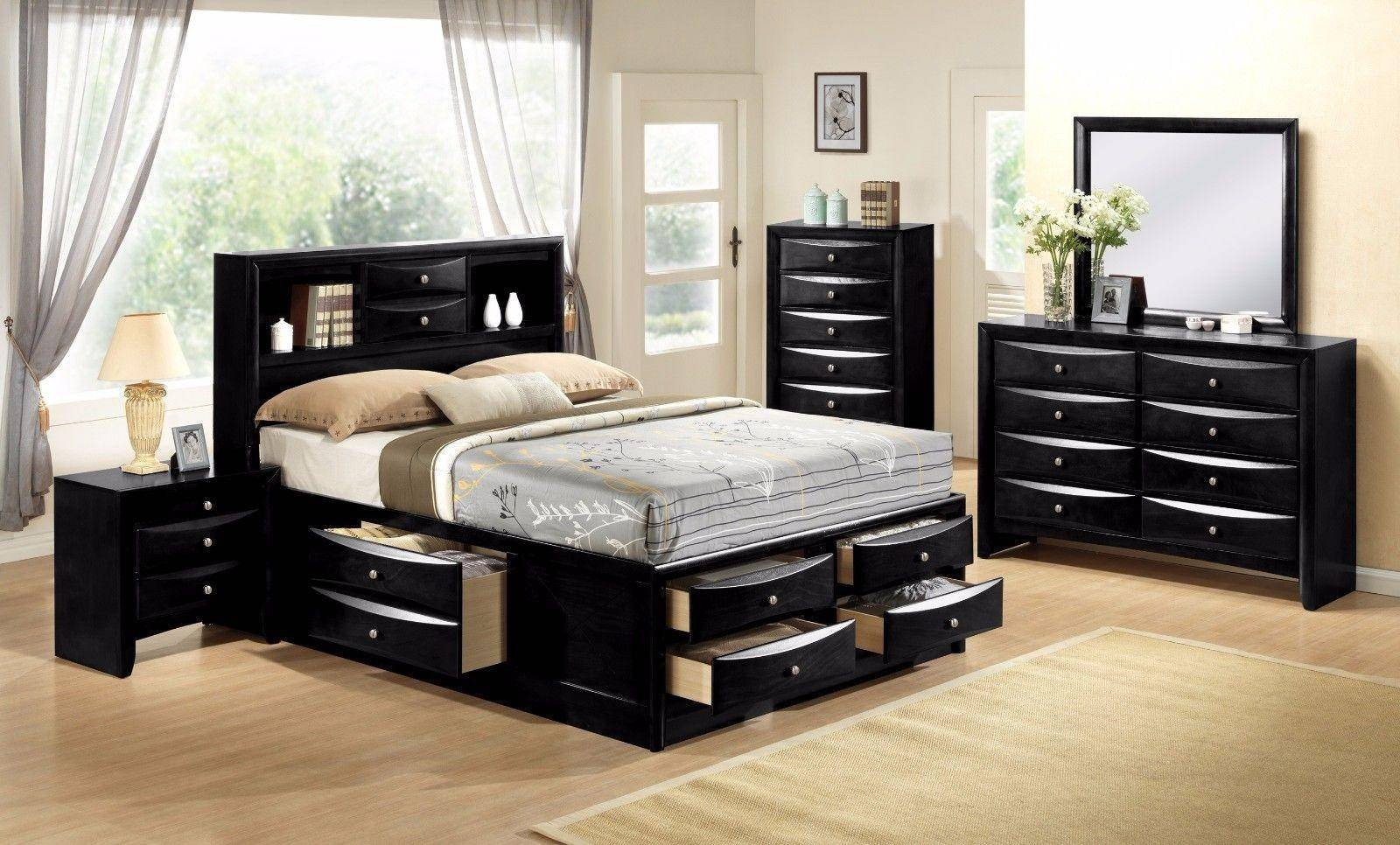 Bedroom Set Full Size Bed New Crown Mark B4285 Emily Modern Black Finish Storage King Size