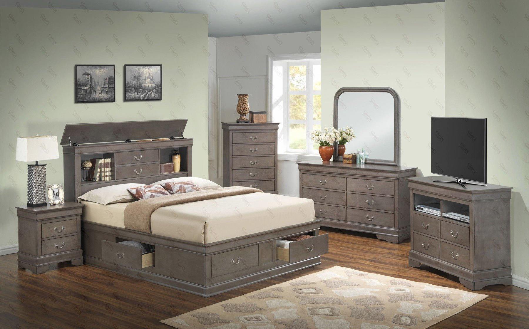 Bedroom Set with Mattress Included New Louis Philippe B Queen Set Gray Queen Size B 2ns Dr Mr Ch