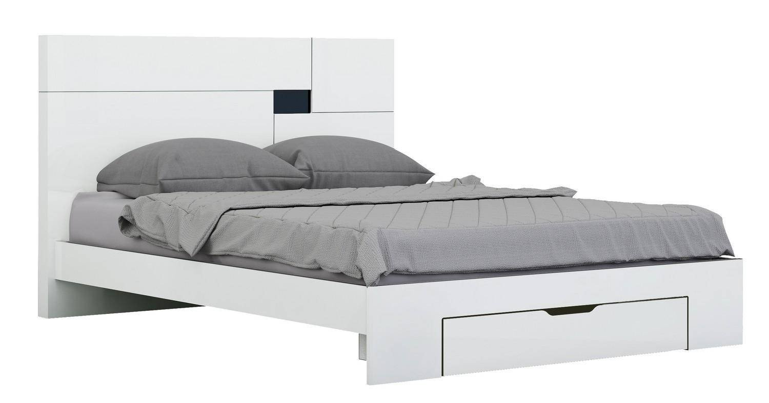 Bedroom Set with Mattress Luxury White High Gloss Finish Queen Bedroom Set 3pcs Modern Global