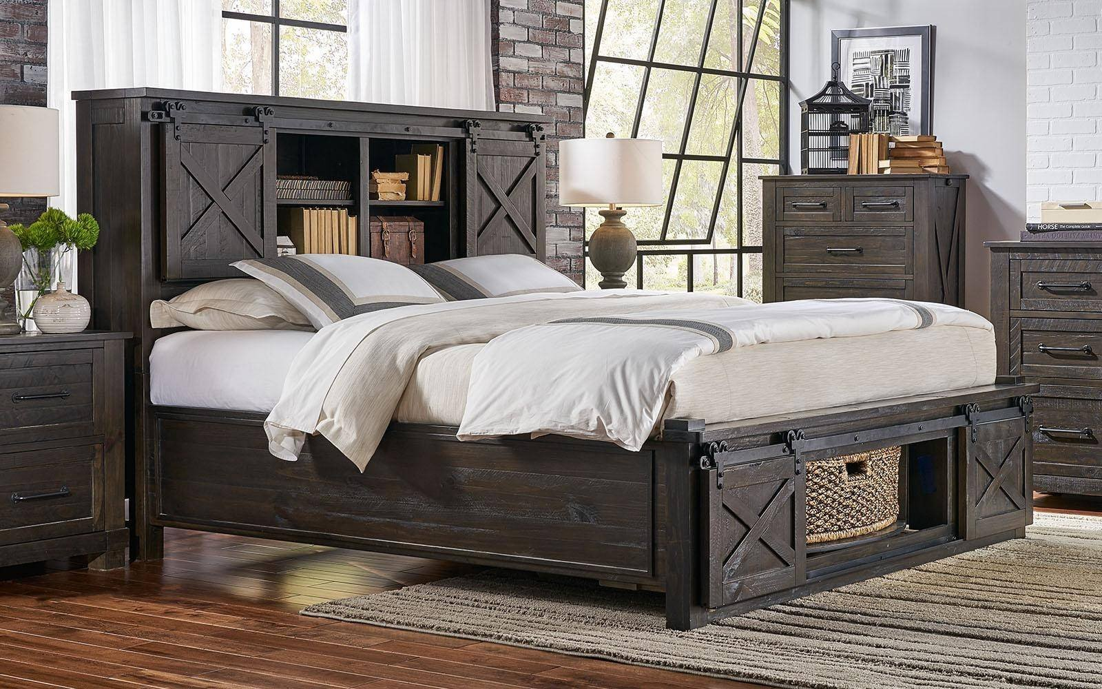 Bedroom Set with Storage Awesome Rustic Queen Rotating Storage Bedroom Set 5pcs Suvcl5032 A
