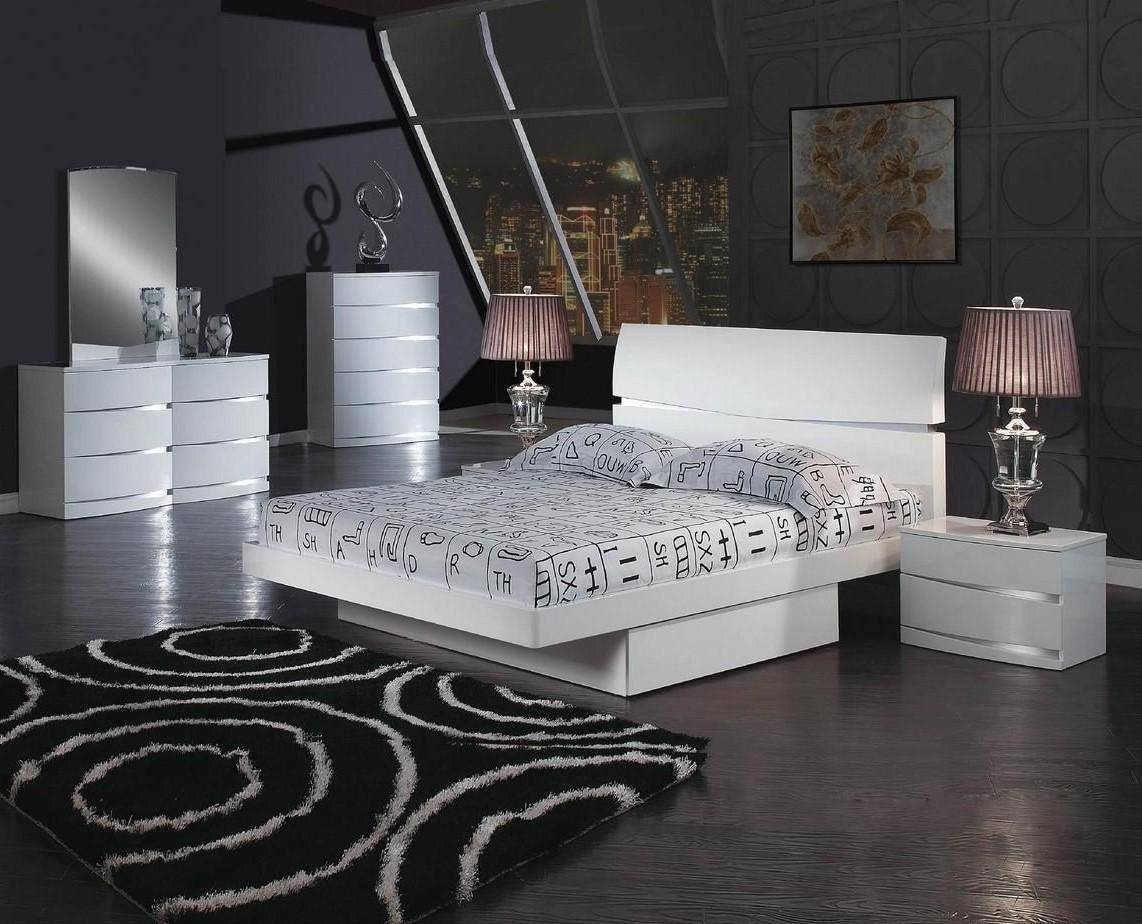Bedroom Set with Storage Fresh White High Gloss Finish Storage King Bedroom Set 5pcs Global