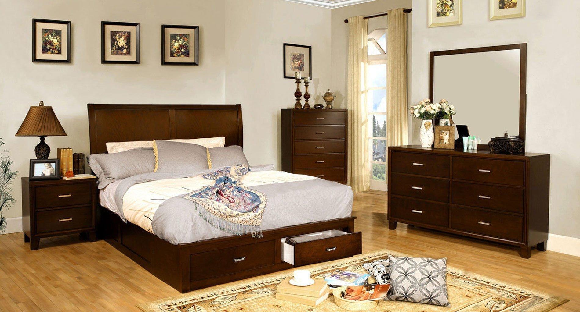 Bedroom Set with Storage Inspirational Enrico Storage Platform Bedroom Set Brown Cherry