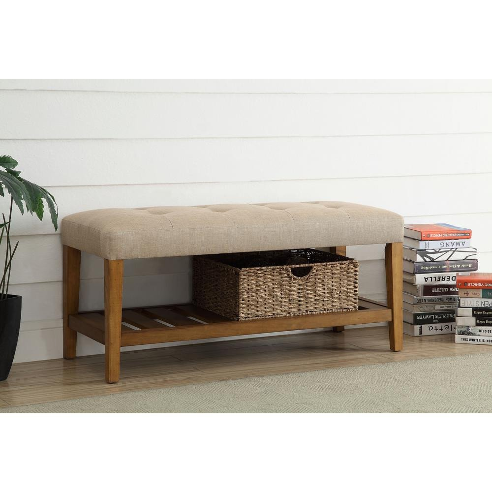 Bedroom Storage Bench Seat Awesome Details About Storage Bench Tapered Legs Padded Seat Slatted Shelf Wood Frame Beige Oak