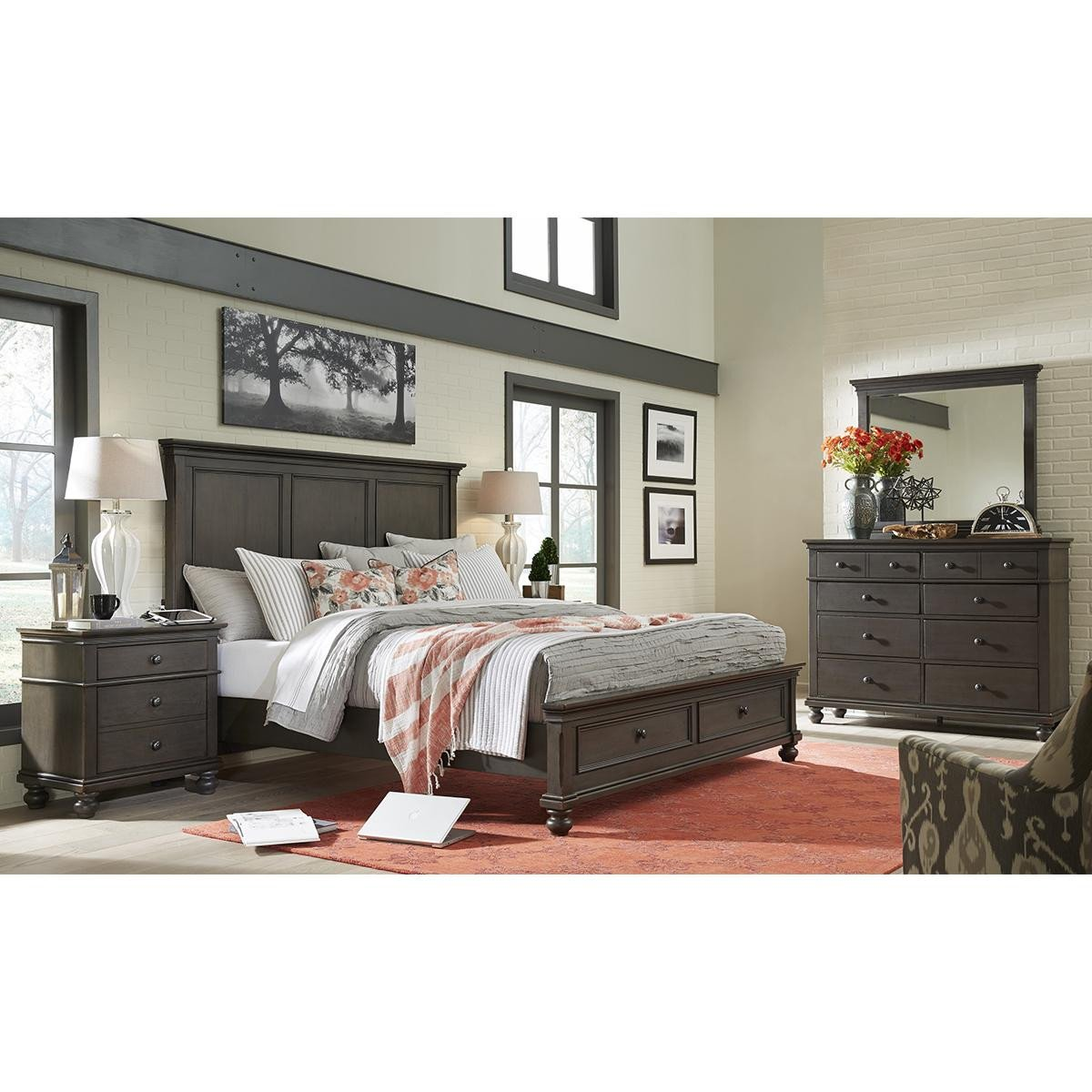 Bedroom Storage Bench Seat Awesome Riva Ridge Oxford 4 Piece Queen Bedroom Set In Peppercorn