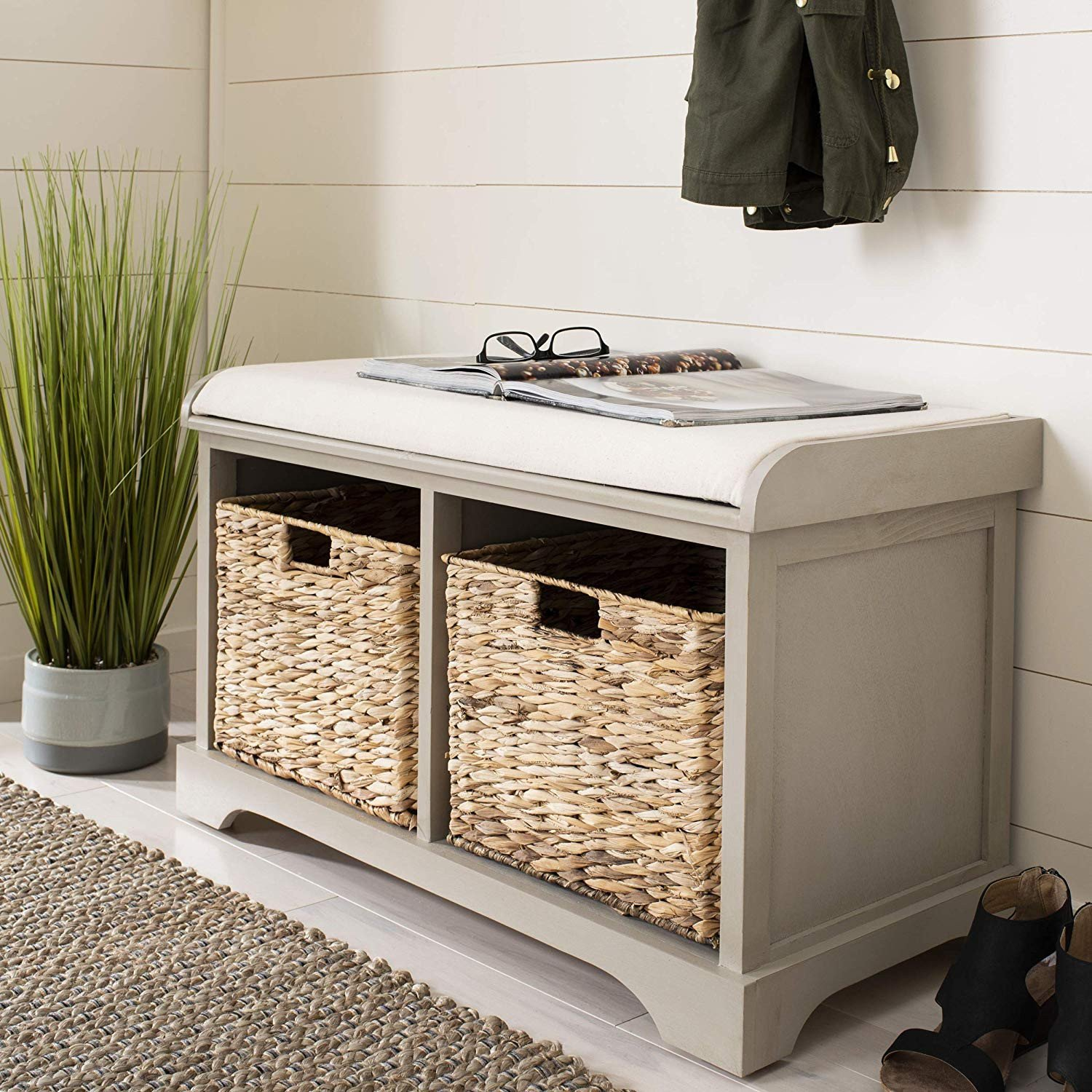 Bedroom Storage Bench Seat Lovely Safavieh American Homes Collection Freddy Brown Wicker Storage Bench