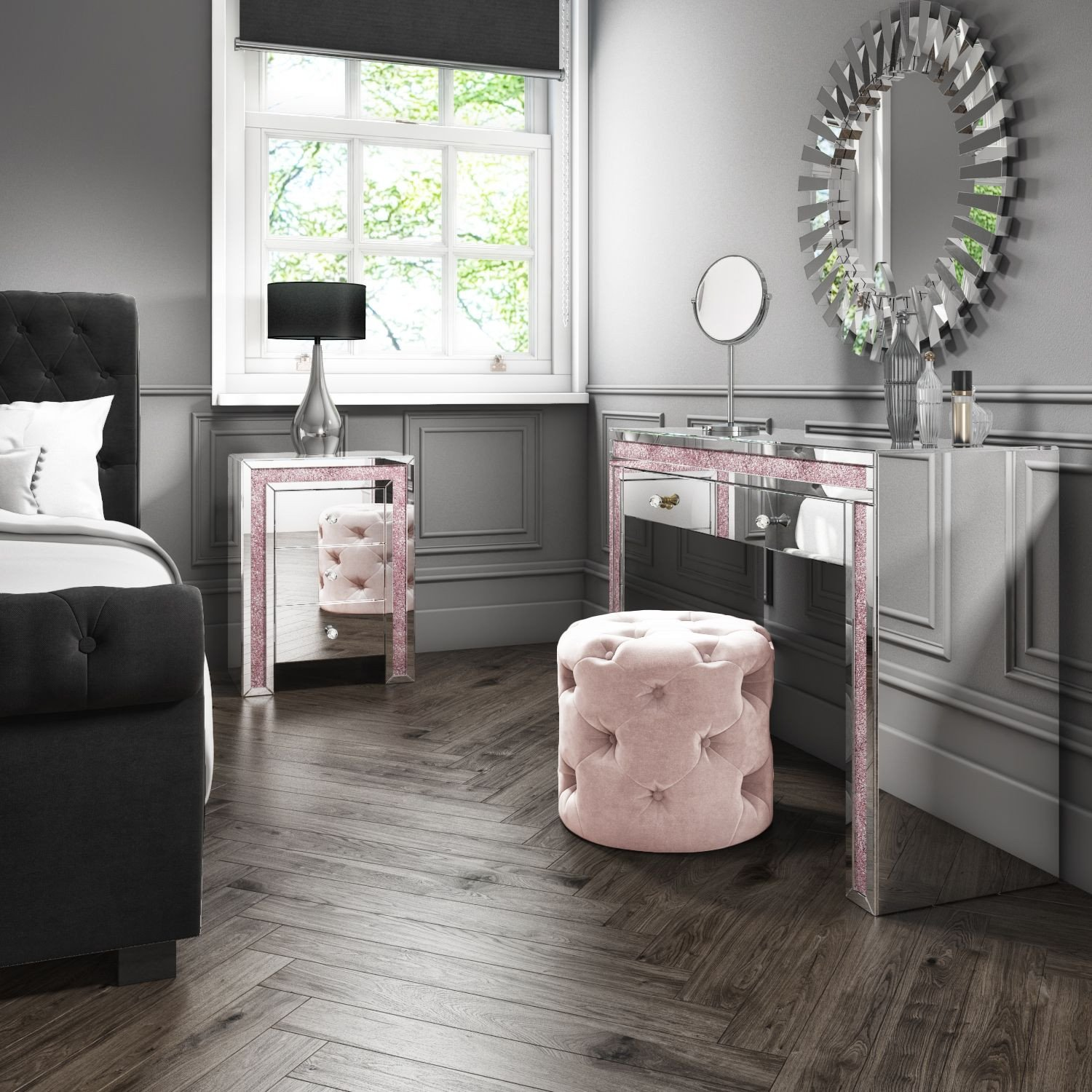 Bedroom Table and Chairs Beautiful Mariah Crush Diamond Mirrored Dressing Table In Pink Mah005