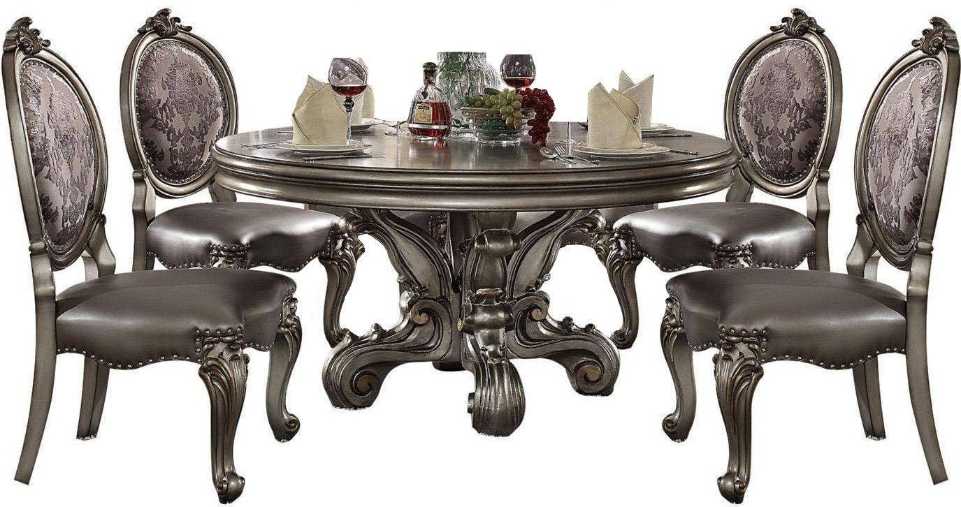 Bedroom Table and Chairs Beautiful Silver Pu Antique Platinum Dining Table Set 5pc Acme