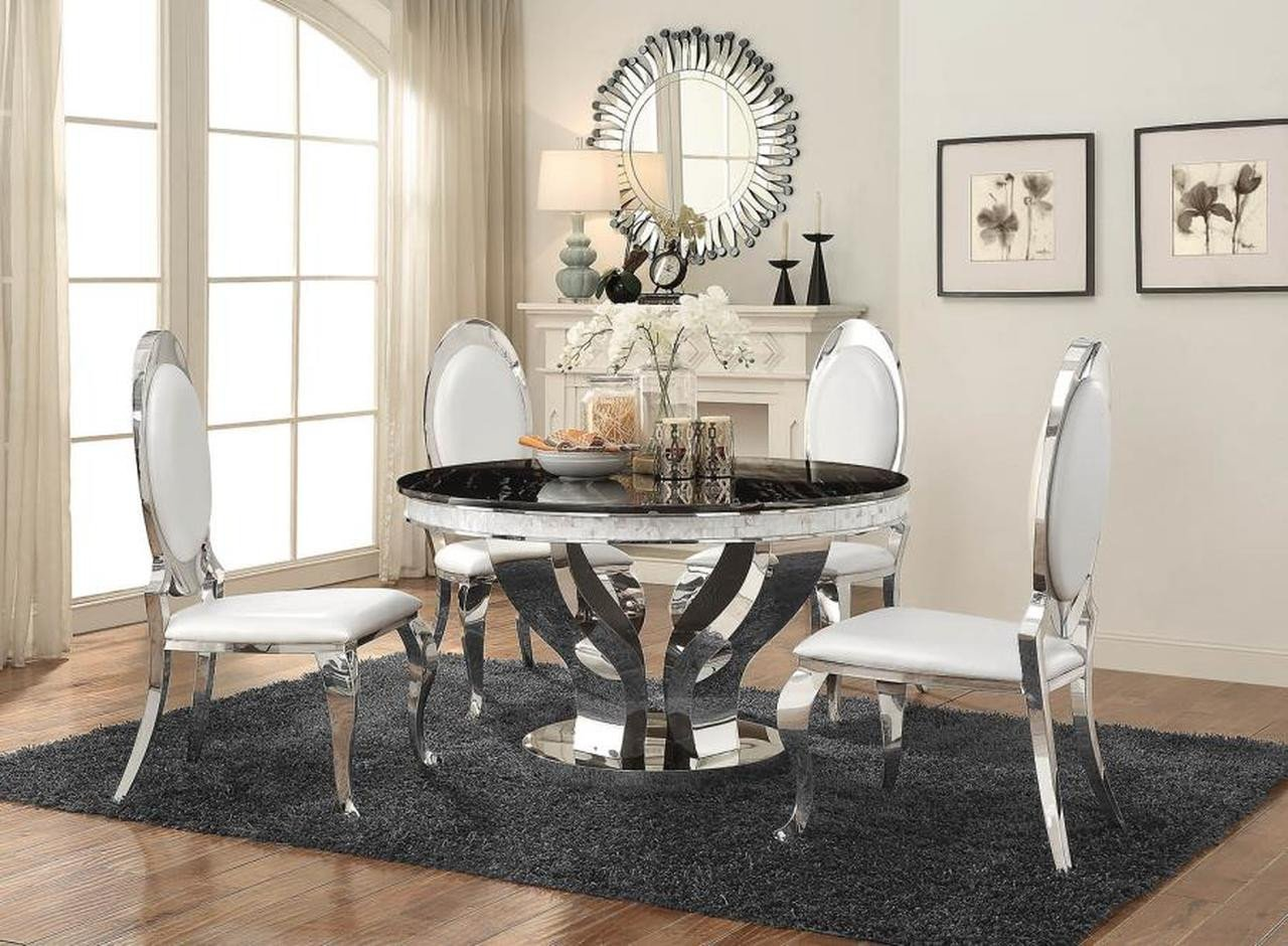 Bedroom Table and Chairs Luxury Anchorage Hollywood Glam Silver Dining Table