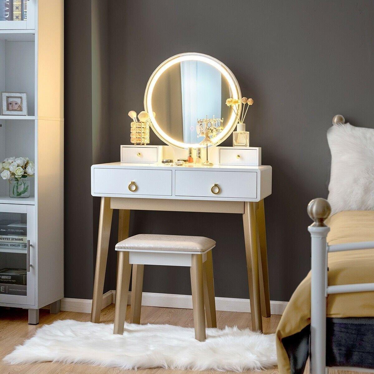 Bedroom Vanities with Light Fresh Set 3 Makeup Vanity Table Color Lighting Jewelry Divider