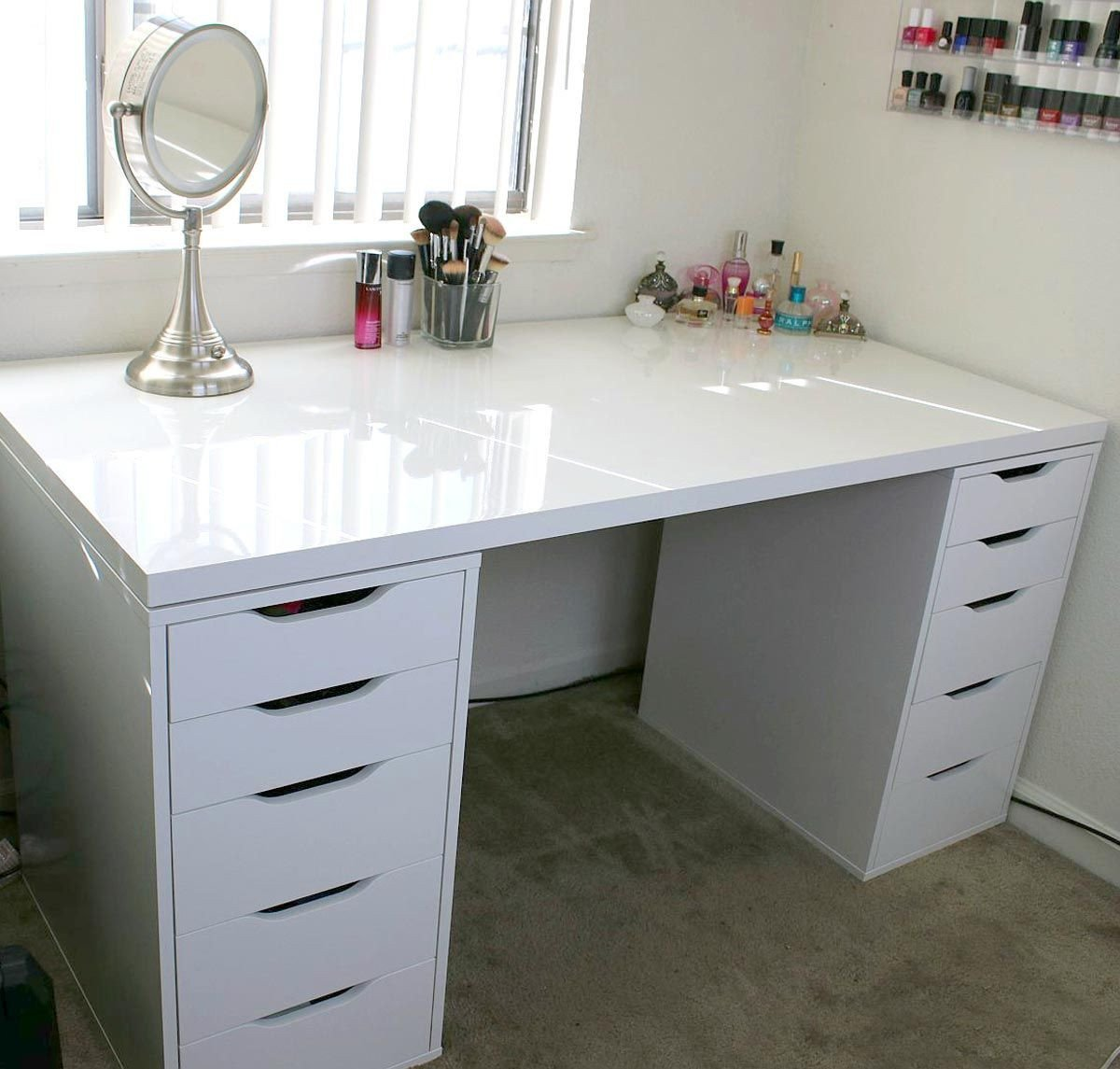 Bedroom Vanity with Drawers New White Minimalist Makeup Vanity and Storage Ikea Linnmon and