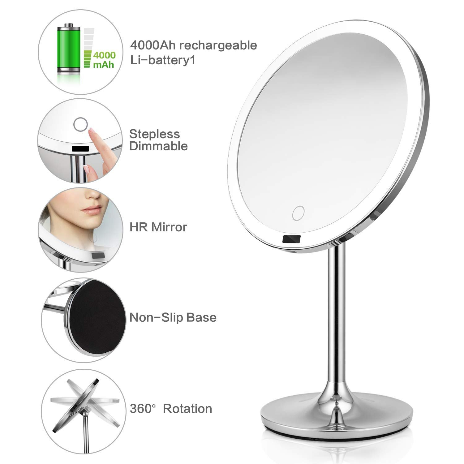 "Bedroom Vanity with Light Fresh Brightinwd 8 5"" Lighted Makeup Mirror with Sensor Makeup Vanity Mirror with Lights Brightness Control Rechargeable and Cordless Polished Chrome"