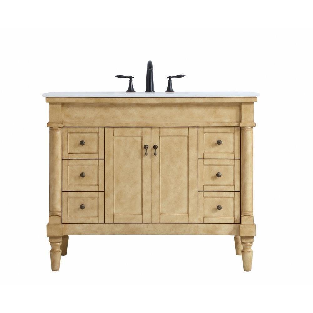 "Bedroom Vanity with Light Fresh Lexington 42"" 6 Drawer Single Bathroom Vanity Sink Set"