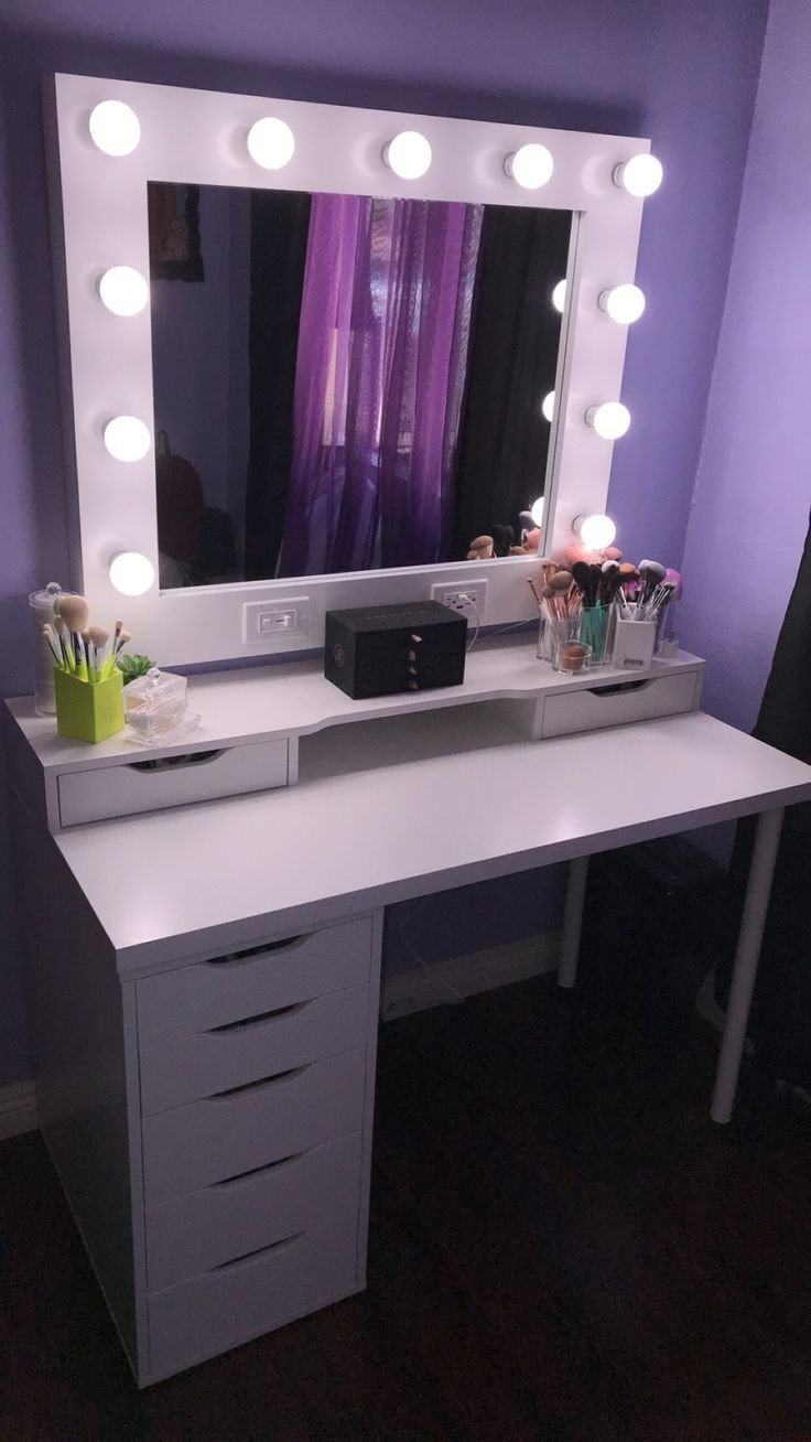Bedroom Vanity with Light Luxury Small Dream Vanity Horizontal