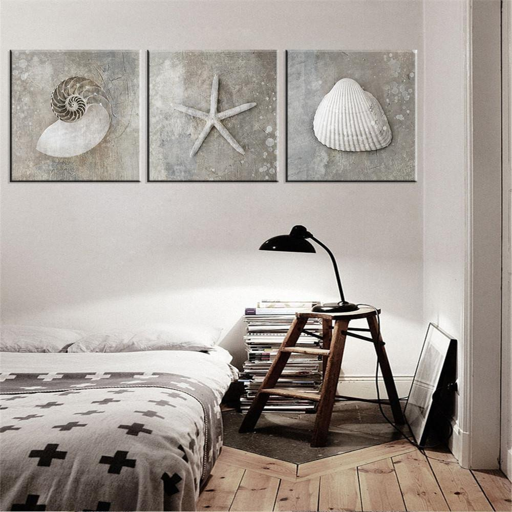 Bedroom Wall Art Decor Fresh 2019 Vintage Grey Shell Wall Art Painting Sea Shell Canvas Poster for Living Room Bedroom Home Decor From World View $12 97