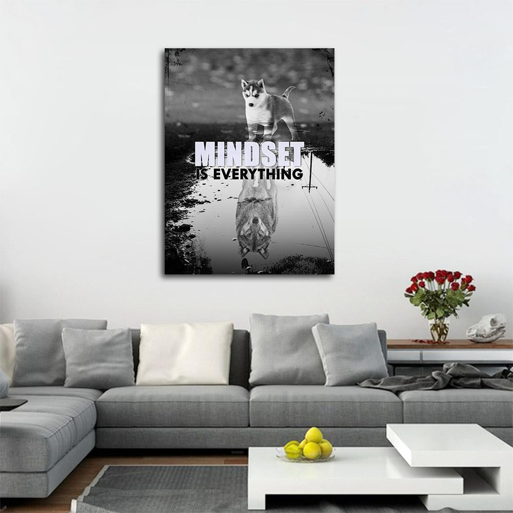 Bedroom Wall Art Decor Unique Mindset is Everything Canvas Wall Art Motivational Decor Husky Wolf
