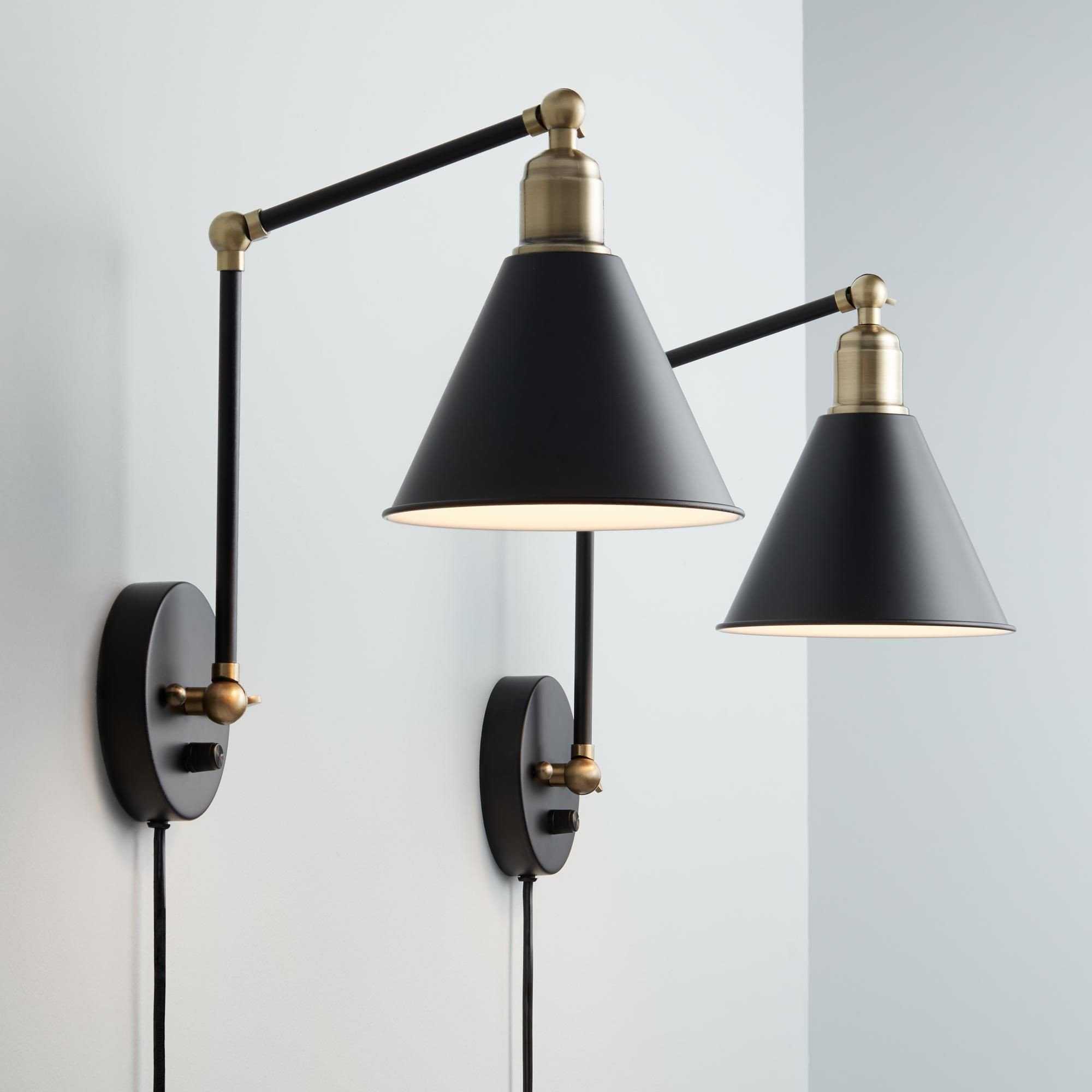 Bedroom Wall Light Fixtures Awesome Wray Black and Antique Brass Plug In Wall Lamp Set Of 2