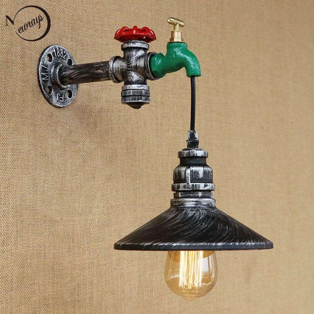 Bedroom Wall Light Fixtures Best Of Retro Iron touch Switch Water Pipe Vintage Loft Wall Lamp with Edison Led Bulb Lights for Cafe Hallway Bedroom Living Room Bar