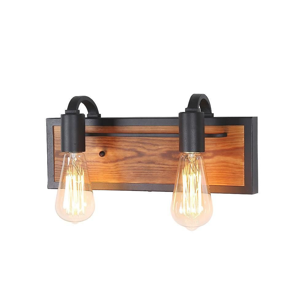 Bedroom Wall Light Fixtures Fresh Lnc 2 Light Black Rustic Vanity Lighting Wood Wall Sconce