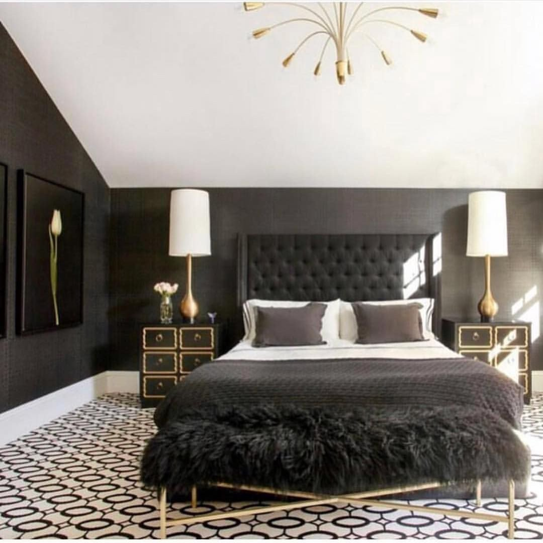 Bedroom with Black Furniture Beautiful Luxury Black & Gold Bedroom by Michellegersoninteriors