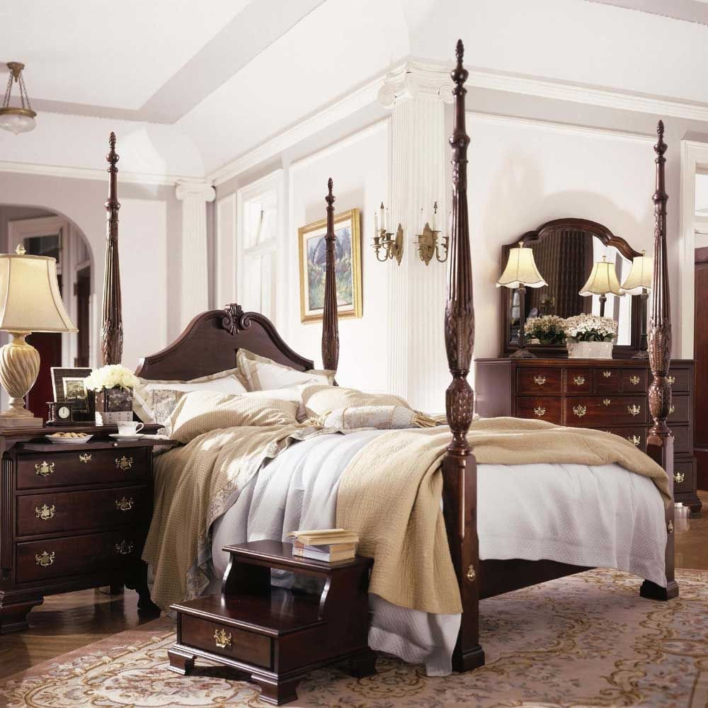 Best Quality Bedroom Furniture Elegant Carriage House Queen Carved Panel Rice Bed by Kincaid