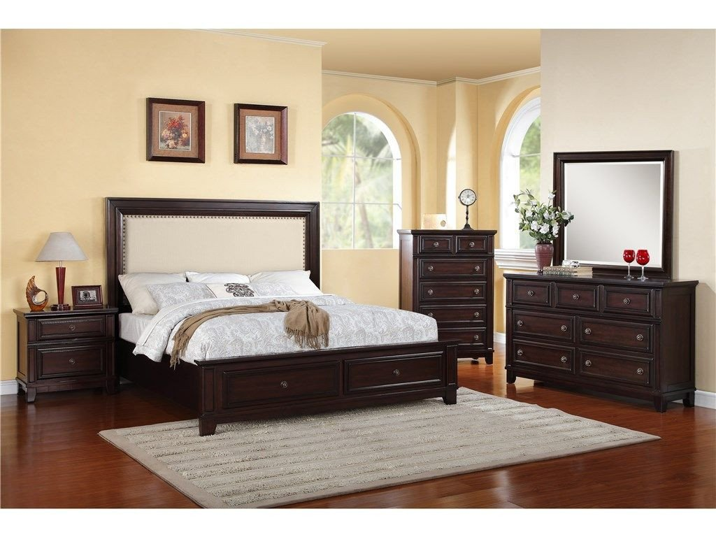 Best Quality Bedroom Furniture Elegant Harwich King Bed Dresser Mirror and Nightstand
