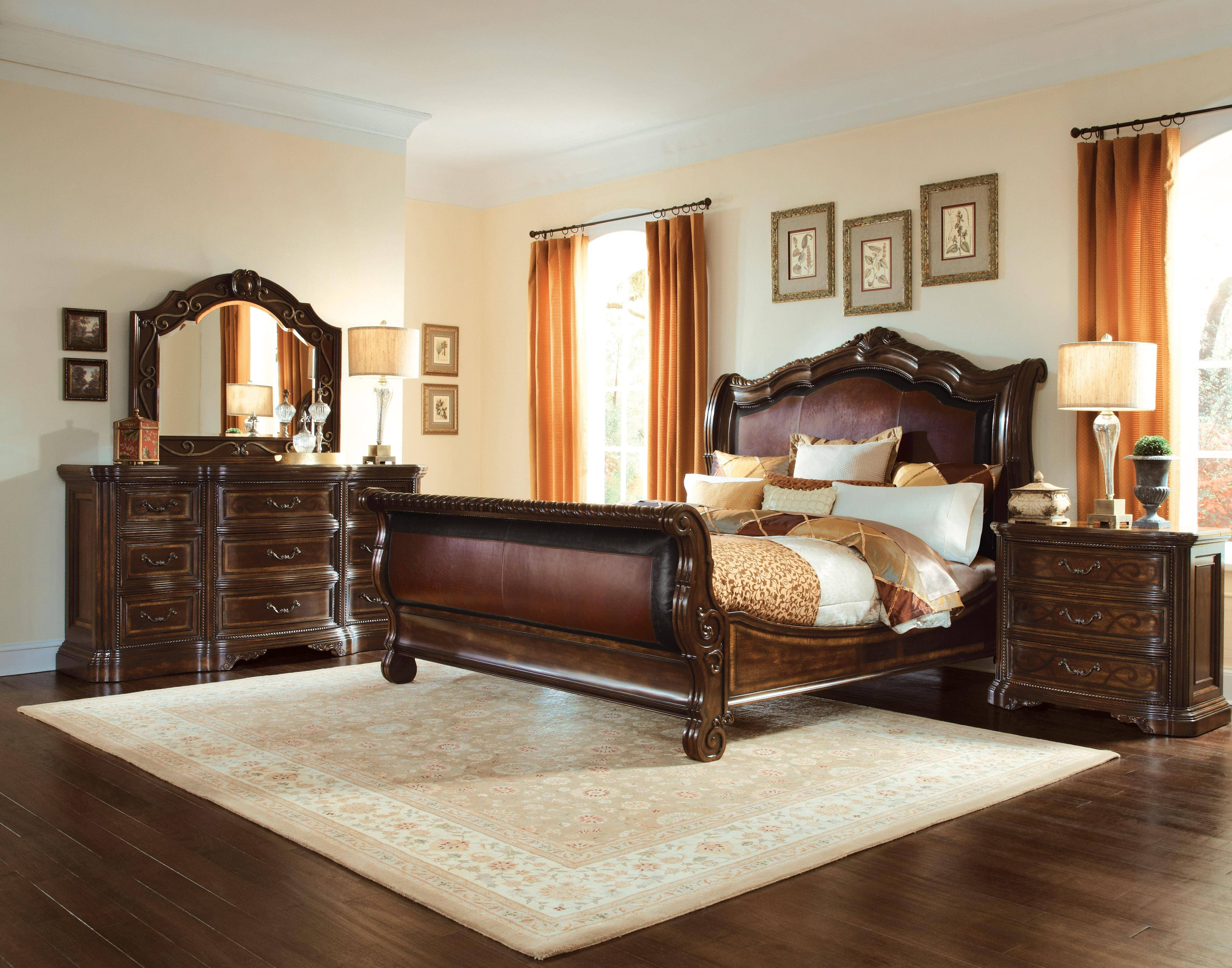 Best Quality Bedroom Furniture Fresh Traditional Dark Oak Faux Leather King Sleigh Bed Valencia A R T