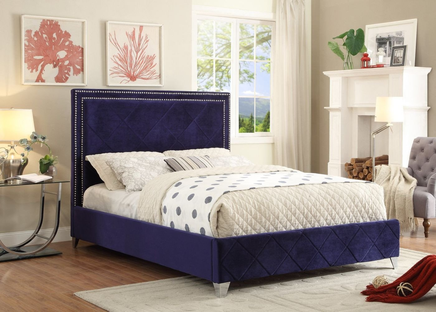 Best Quality Bedroom Furniture Unique Meridian Hamptonnavy Q Hampton Navy Velvet Queen Bed