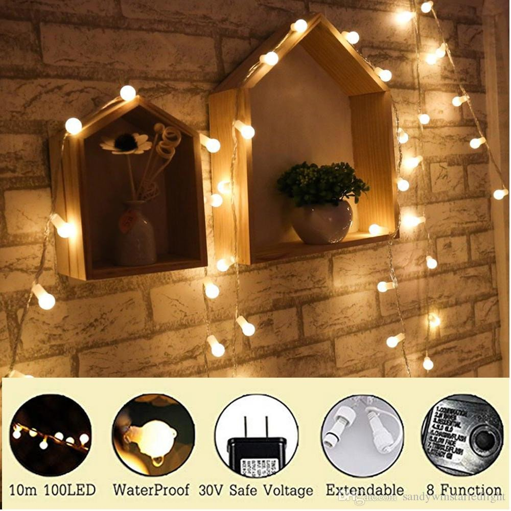 Best String Light for Bedroom New 33ft 100 Leds Globe String Lights Starry Fairy Lights Ball String Lights for Outdoor Indoor Bedroom Garden Patio Wedding Christmas Tree Outdoor