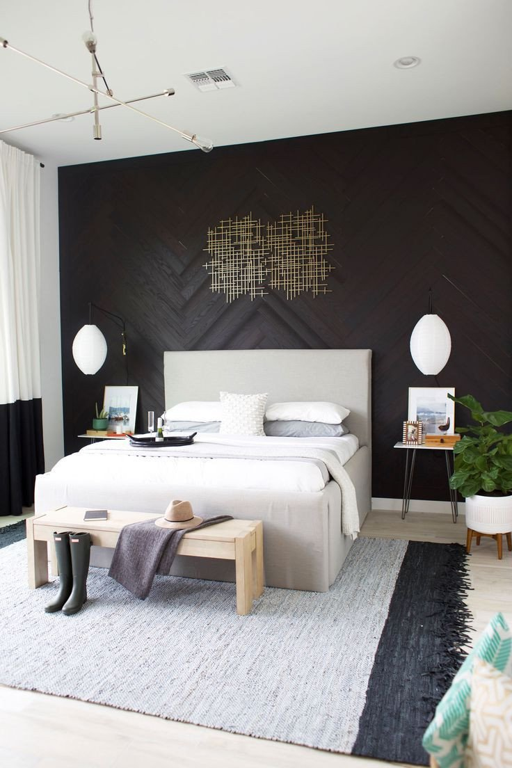 Black and Silver Bedroom Ideas Unique Master Bedroom Reveal Diy Herringbone Wall with Stikwood