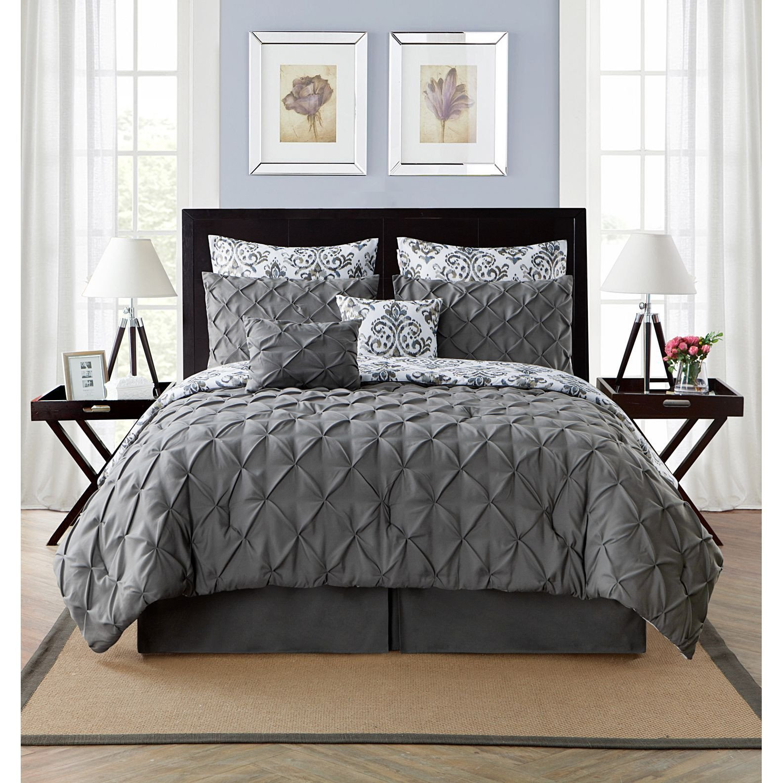 Black and Silver Bedroom Set Luxury Vcny Heather 8 Piece Reversible forter Set Grey King