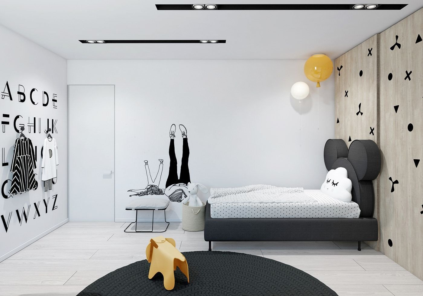 Black and White Teenage Bedroom Beautiful Black & White House On Behance Ph²ng Ngá § In 2019