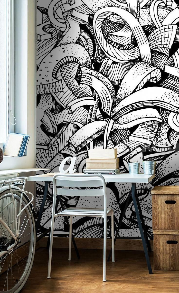 Black and White Teenage Bedroom Fresh Abstract Doodles