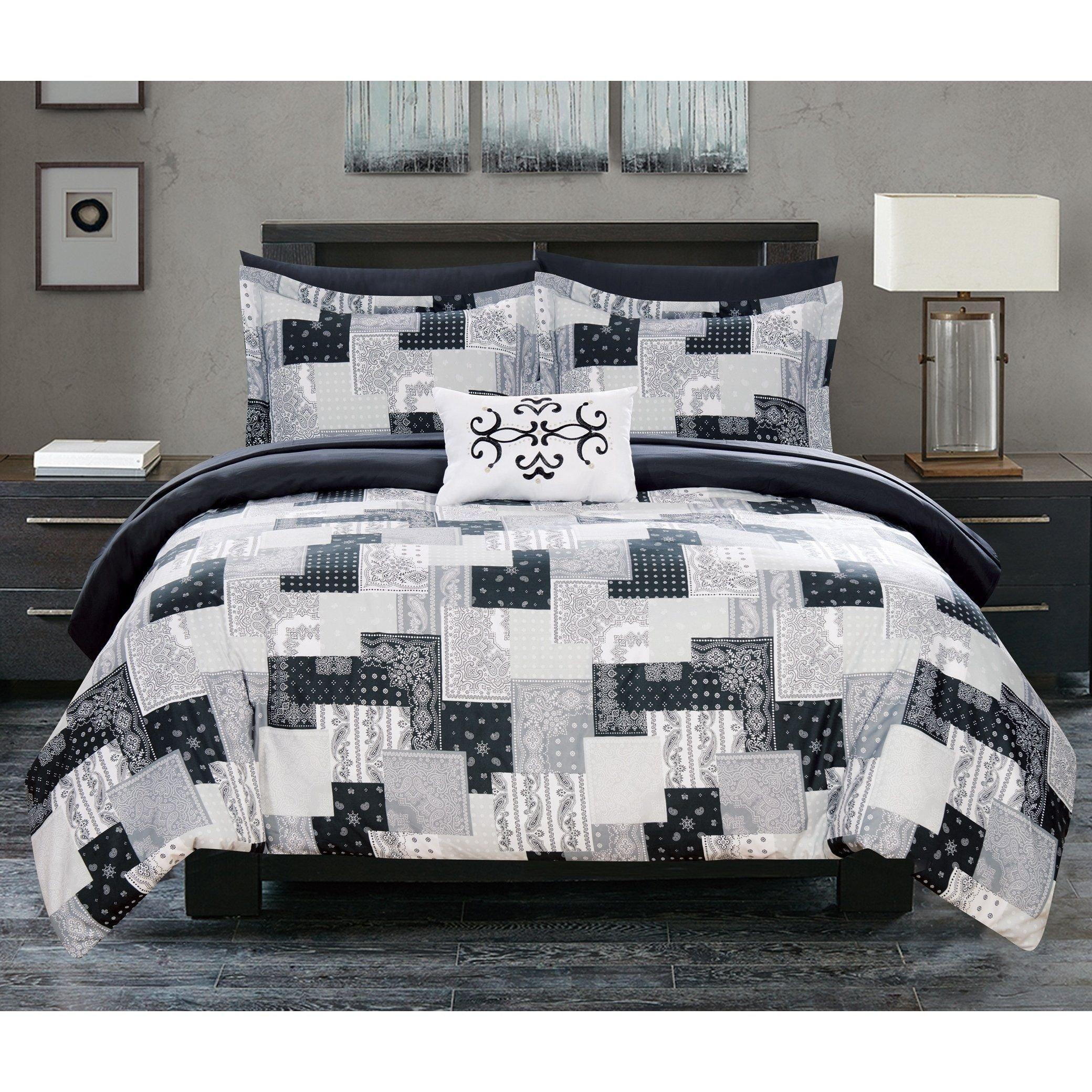 Black Bedroom Comforter Set Elegant Chic Home 8 Piece Reversible forter Set Patchwork Paisley