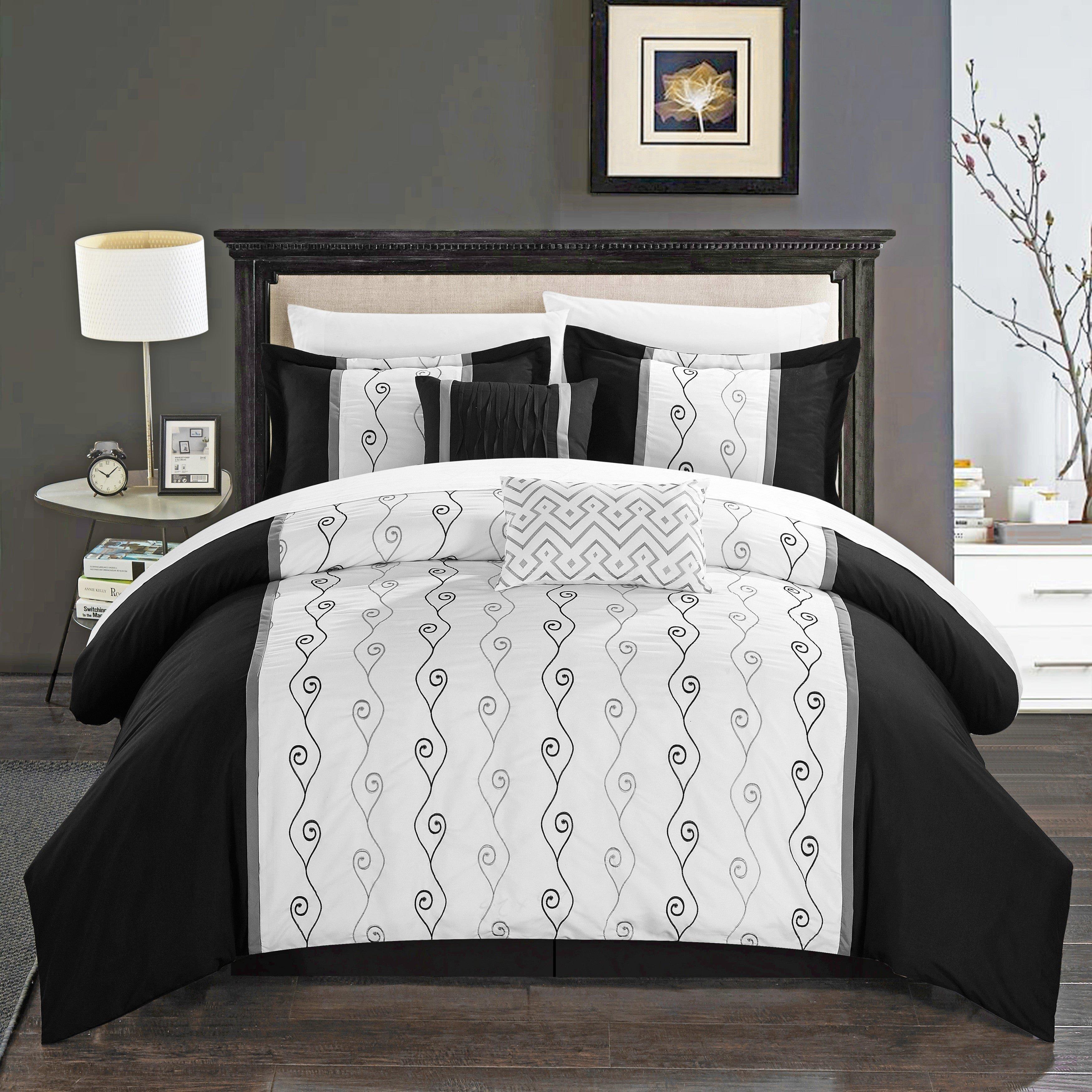 Black Bedroom Comforter Set Inspirational Chic Home Yohan Black Color Block Embroidered 6 Piece forter Set