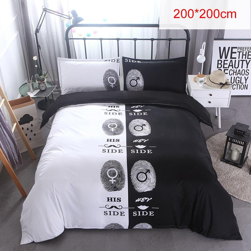 Black Bedroom Set Queen Beautiful Hot Sale Black & White 3d Printing Bedding Sets 200 200 Cm 228 228cm Double Bed 3pcs Bed Linen Couples Duvet Cover Set