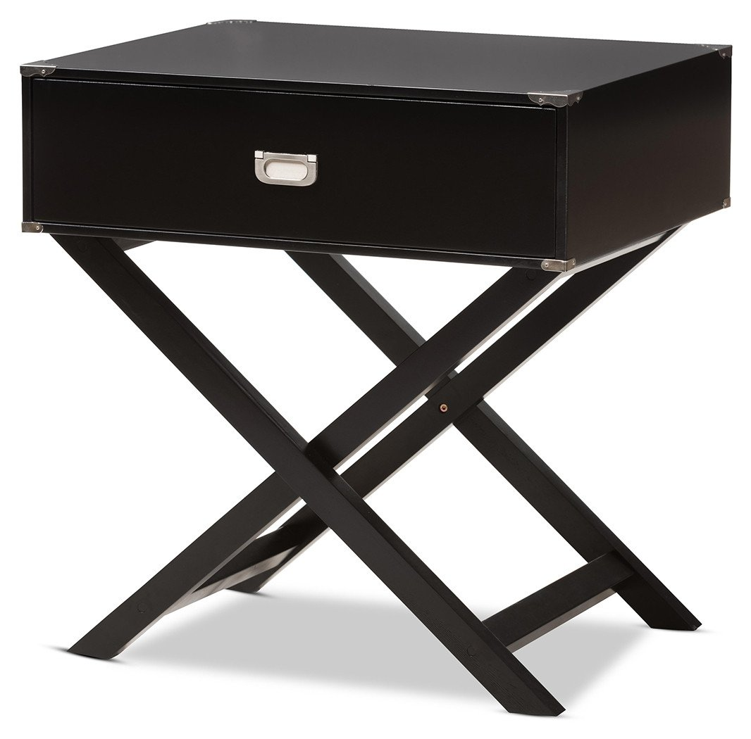 Black Bedroom Side Table Awesome Curtice 1 Drawer Wooden Bedside Table Black