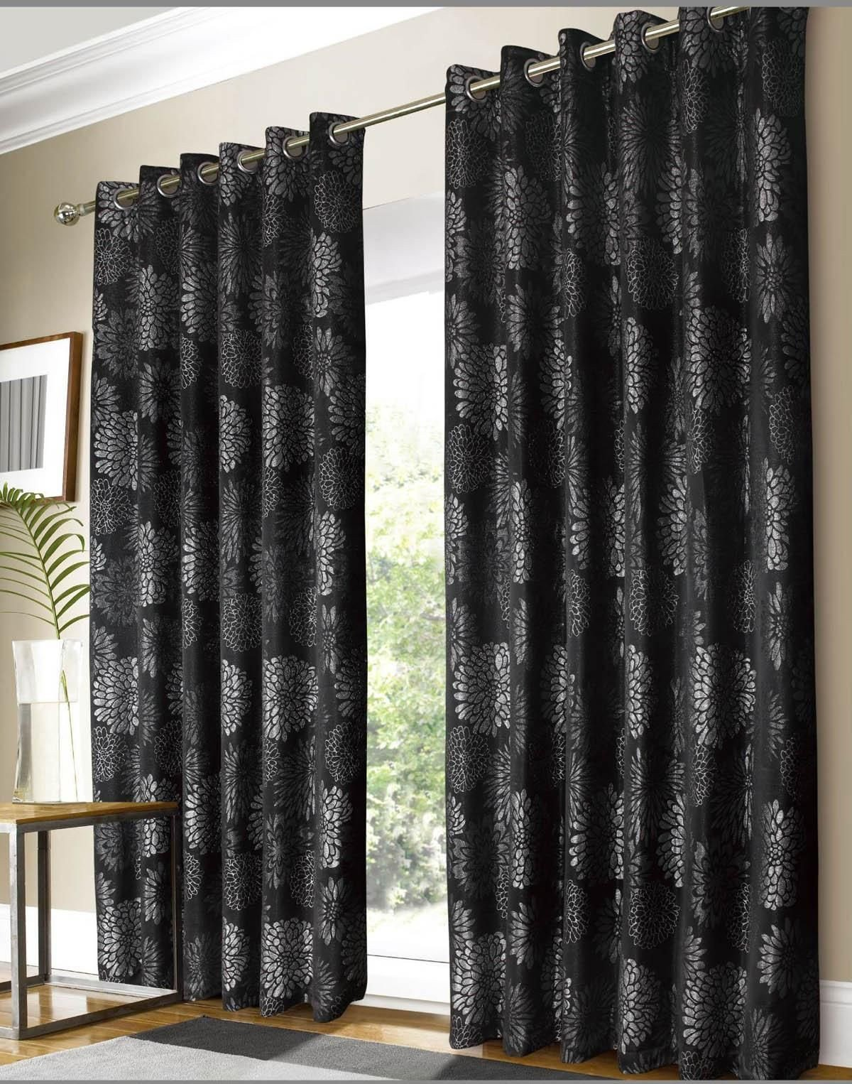 Black Curtains for Bedroom Elegant Black and Silver Curtains