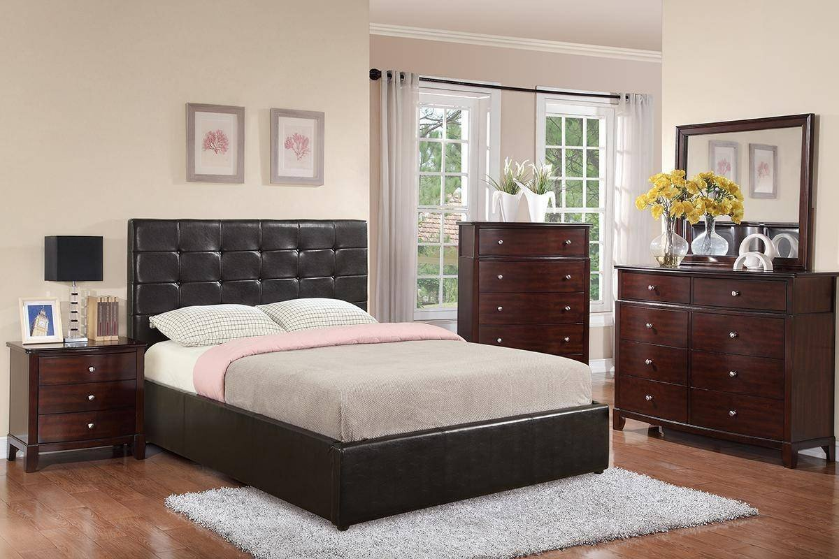 Black Leather Bedroom Set Luxury Black Faux Leather Queen Storage Bed F9250 Poundex Contemporary