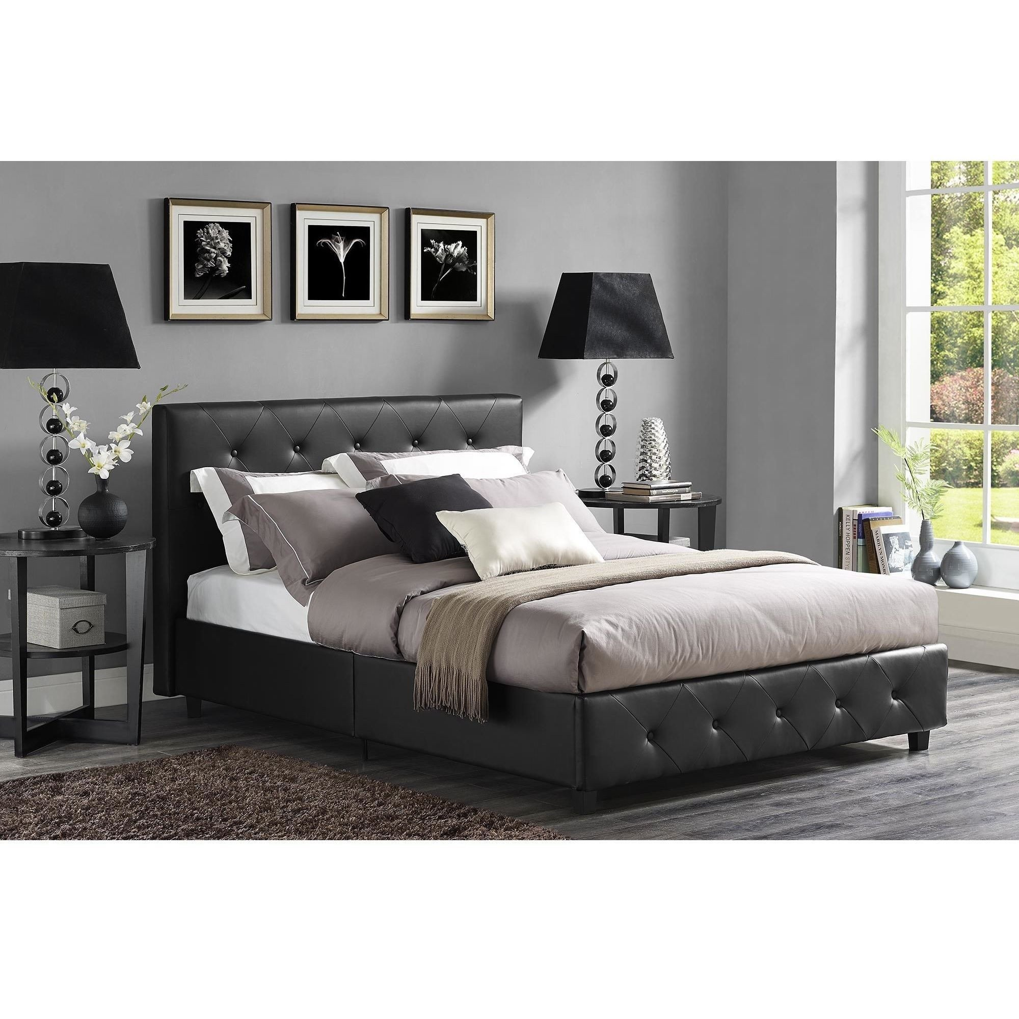 Black Leather Bedroom Set Luxury Wicker Park Claremont Black Faux Leather Upholstered Bed