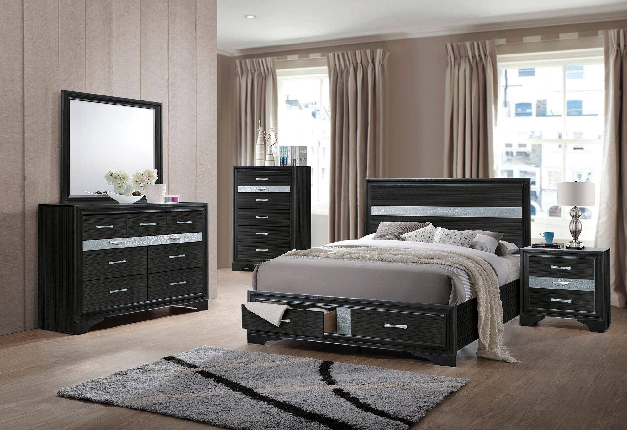Black Mirror Bedroom Set Awesome Black Wood Queen Storage Bedroom Set 4pcs Naima Q Acme
