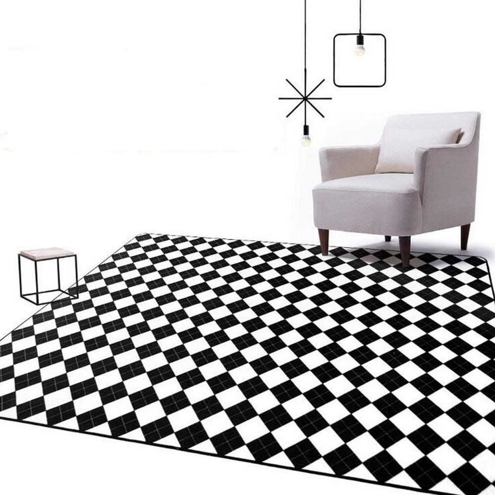 Black Rugs for Bedroom Unique Modern Black White Geometric Plaid Big Carpet Parlor Bedroom