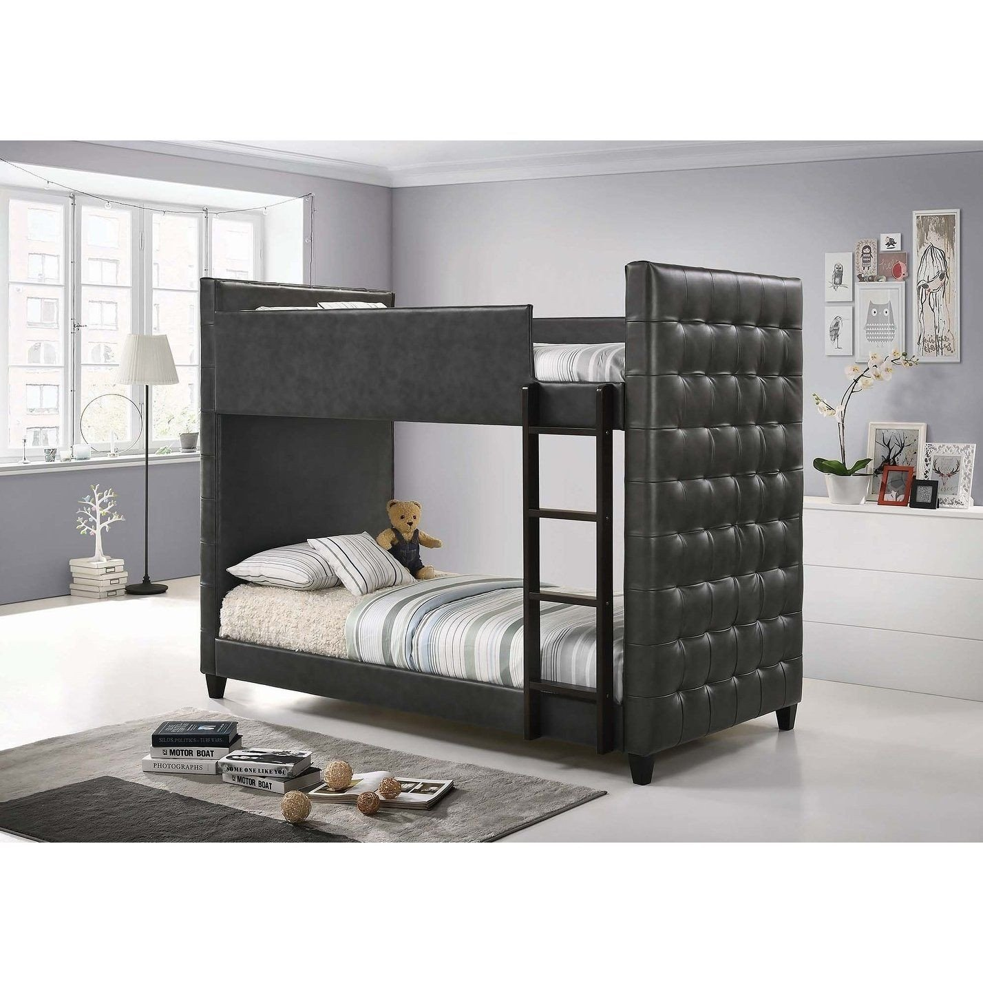 Black Twin Bedroom Set New Helms Grey and Black Upholstered Twin Over Twin Bunk Bed