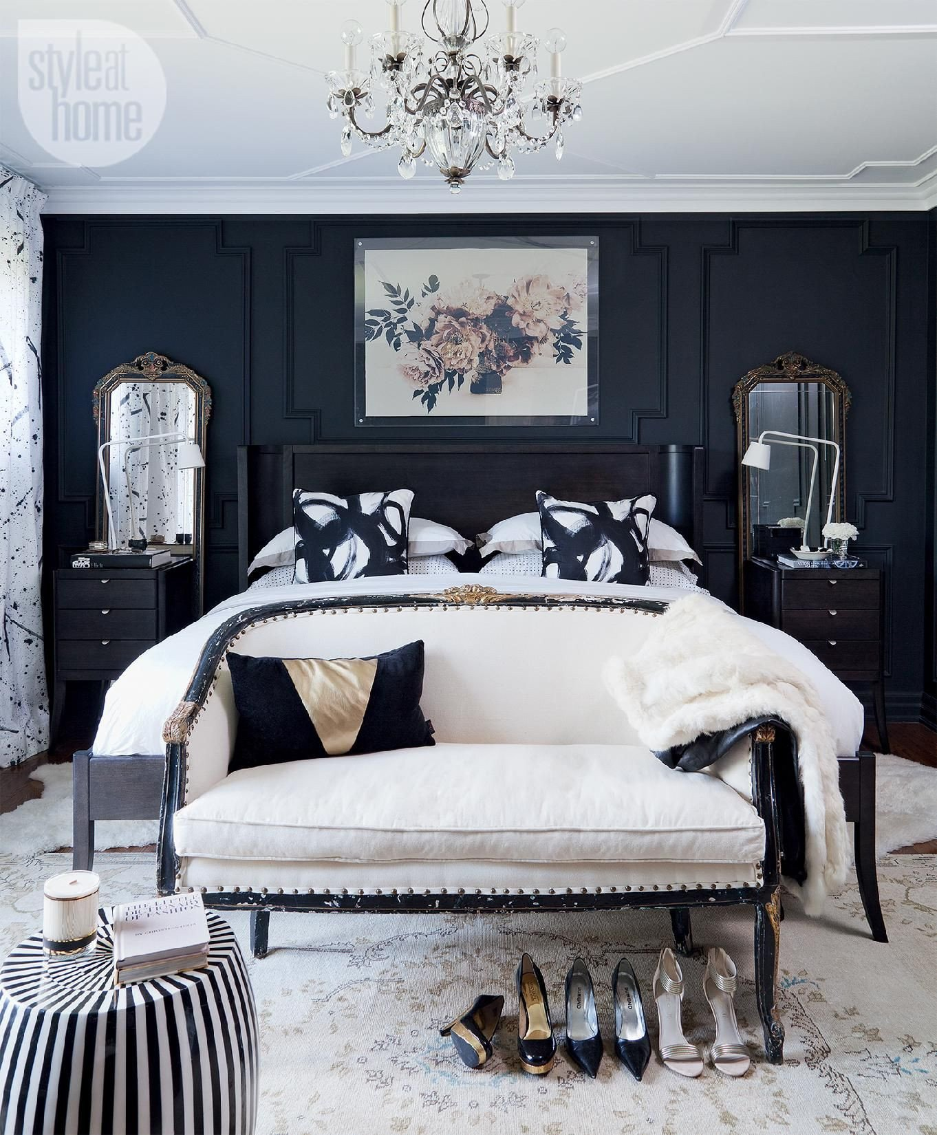 Black White and Gray Bedroom New Style at Home Christine Dovey S Bedroom Shop This Look