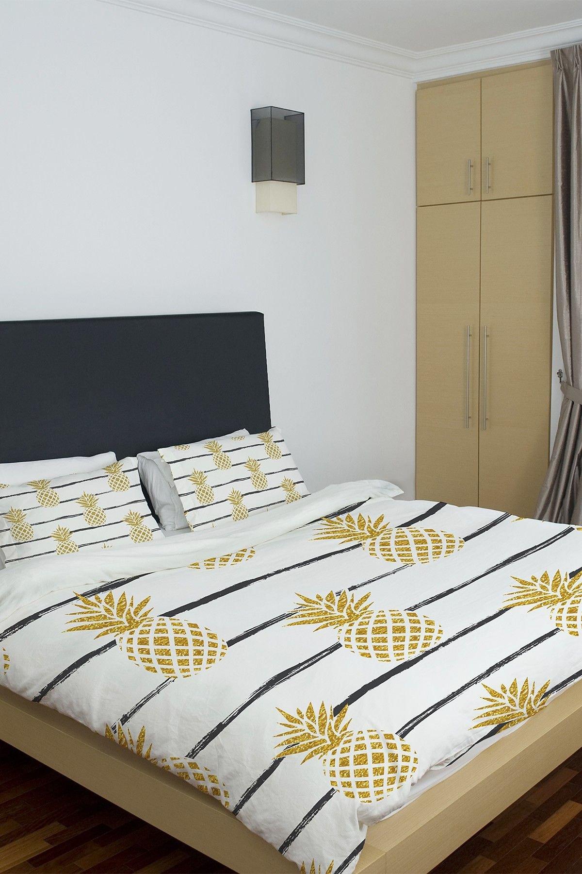 Black White Gold Bedroom Elegant E Bella Casa Pineapple Stripe Duvet Cover