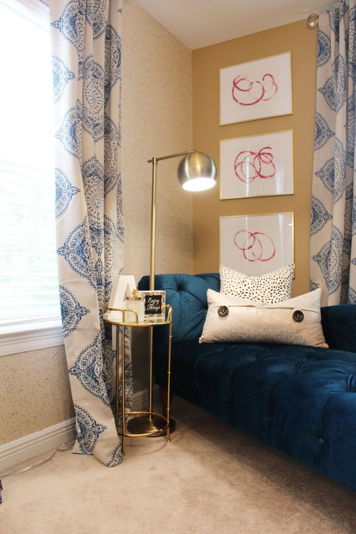 Blue and Gold Bedroom Awesome Pink and Blue Transitional Bedroom Reveal before & after