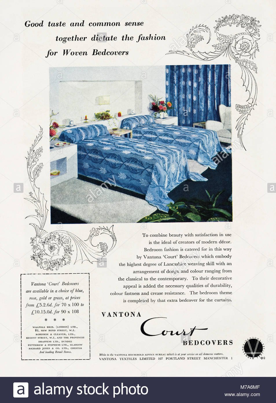 Blue and Gold Bedroom Beautiful 1950s original Old Vintage Advertisement Advertising Vantona