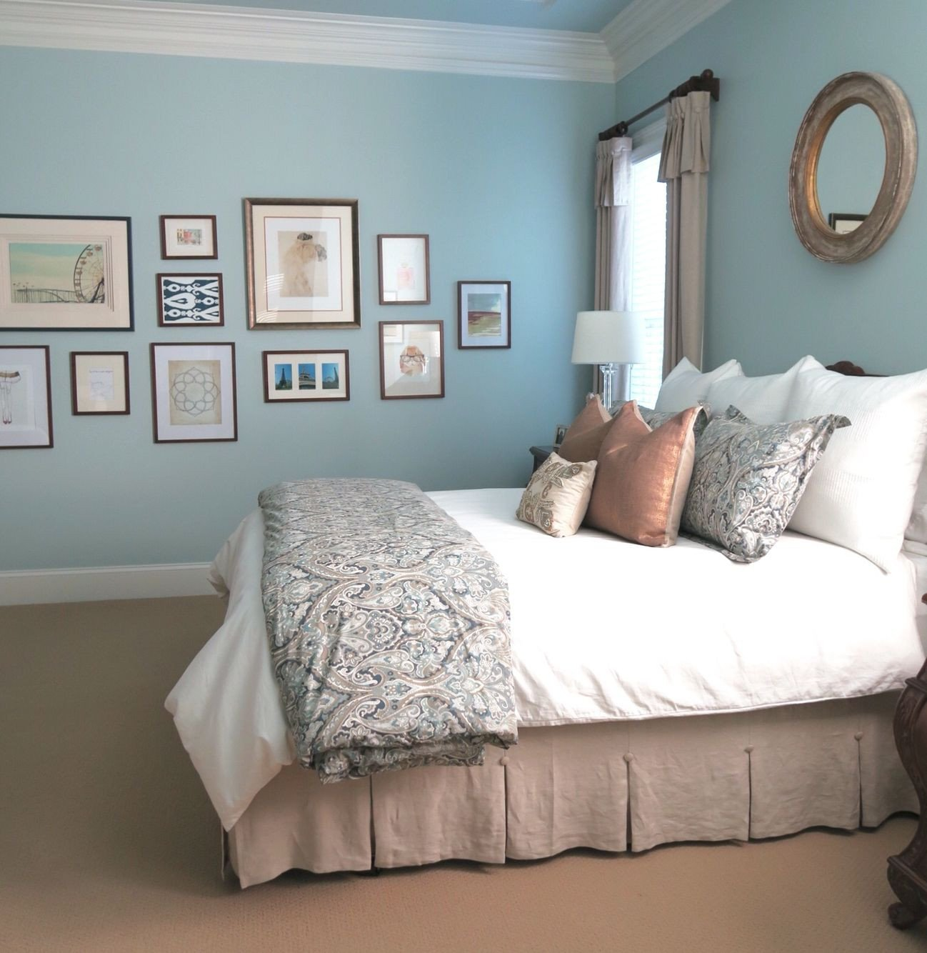 Blue and Gold Bedroom Best Of Beautiful Pale Blue Master Bedroom with Gallery Wall