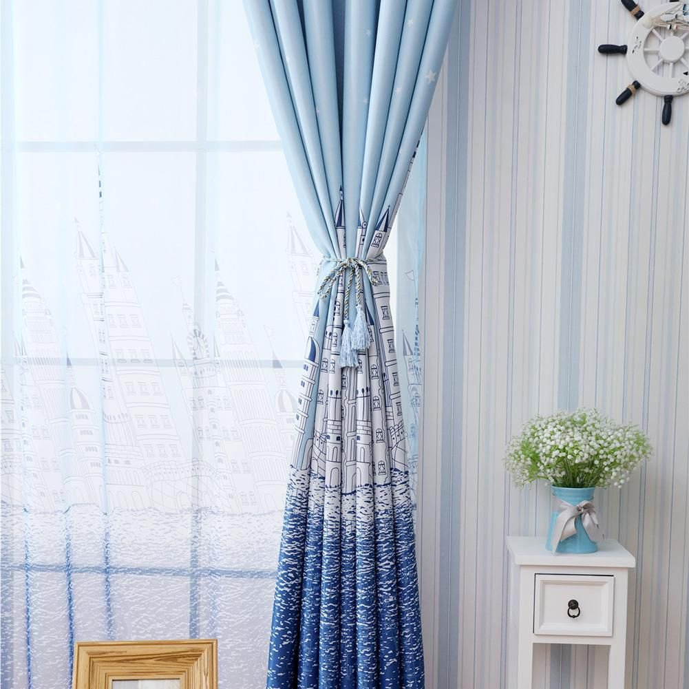 Blue Curtains for Bedroom Elegant Castle Print Blackout Curtains Bedroom Windows Decor Drapes